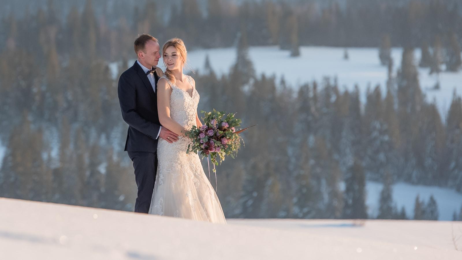 Zimowy plener ślubny, Tatry - Przełęcz nad Łapszanką