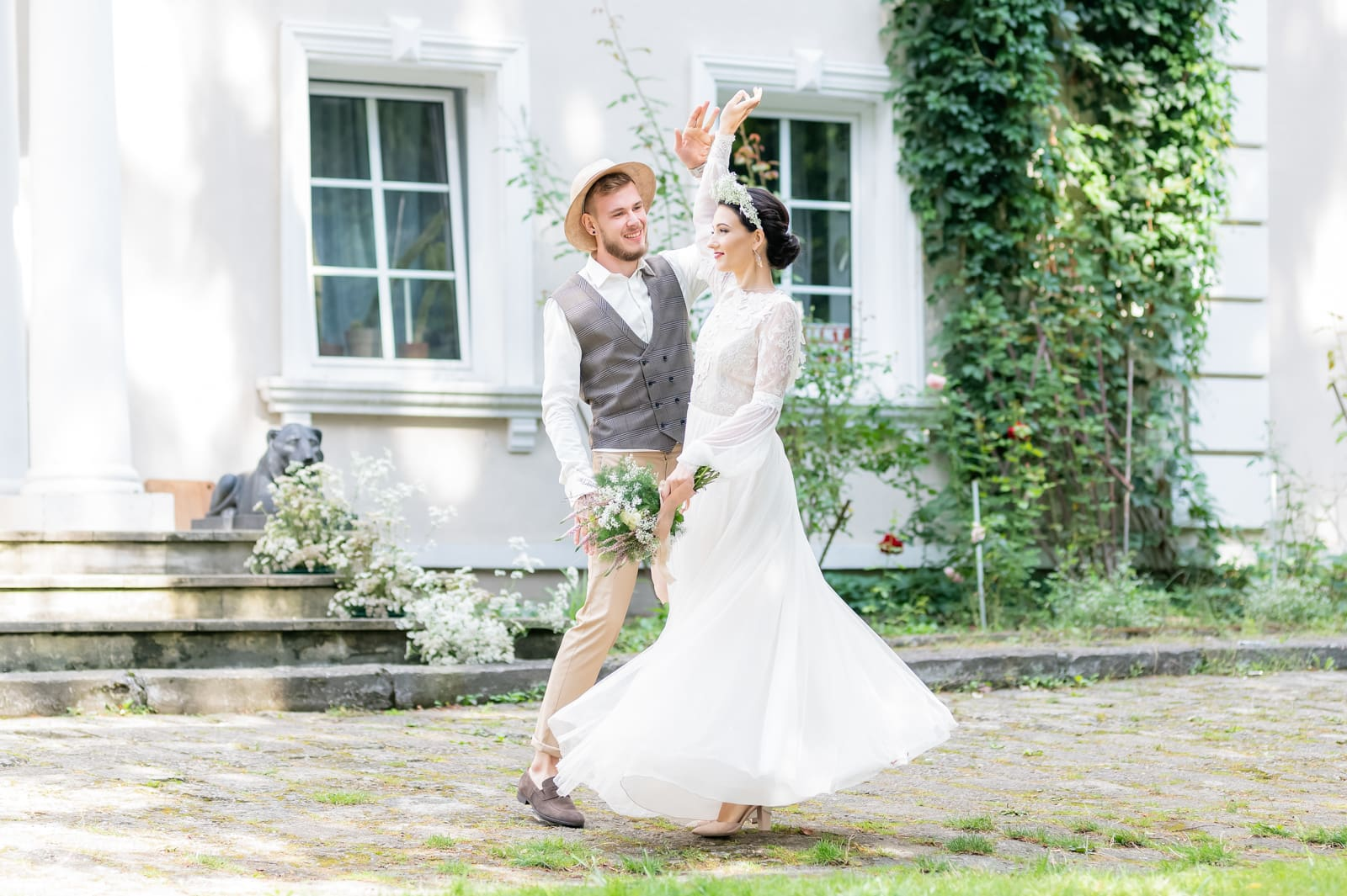 Ślub w plenerze, ślub plenerowy, stylizowana sesja ślubna, Dwór w Odonowie