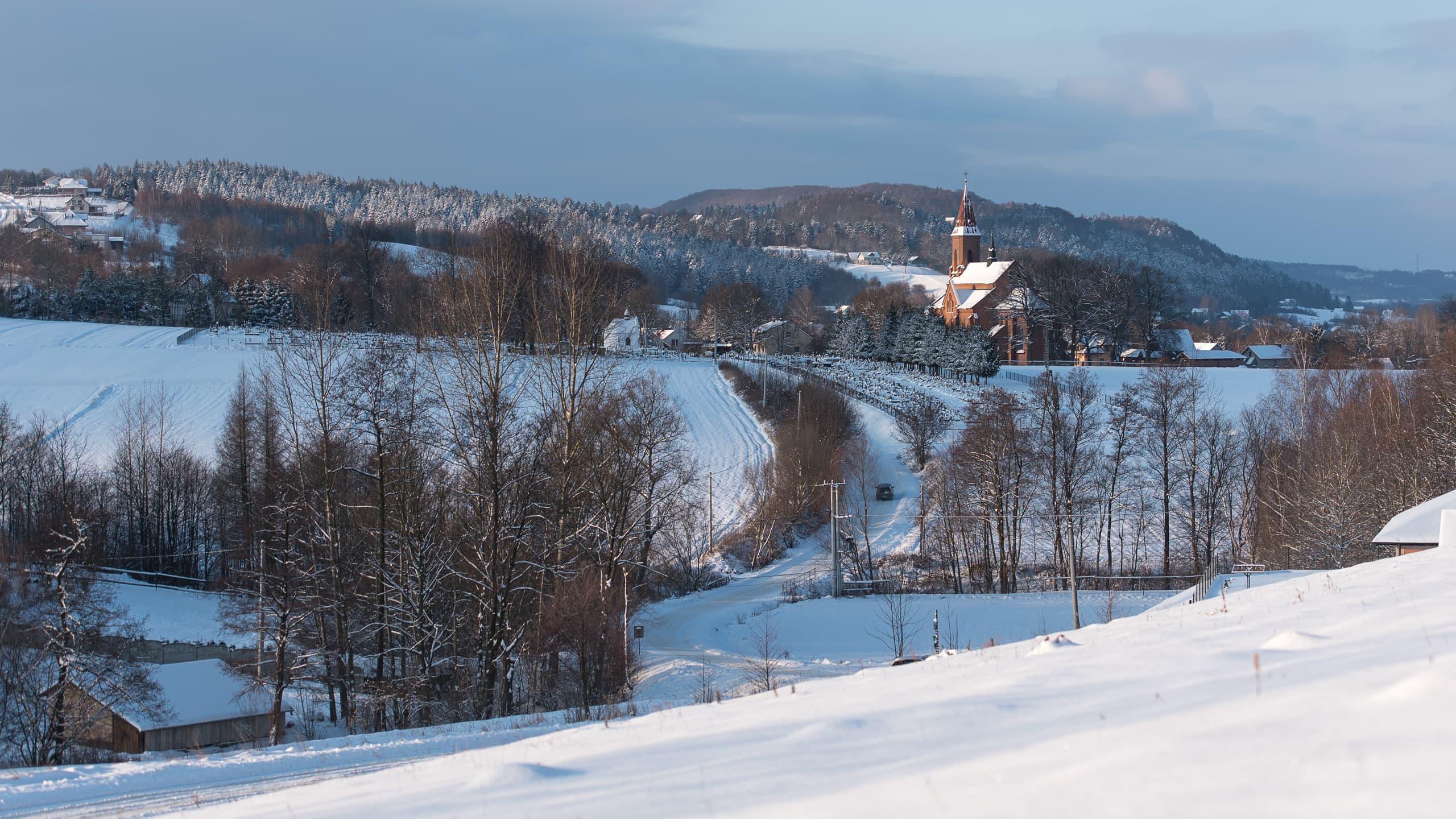 Przeczyca, zimowy krajobraz
